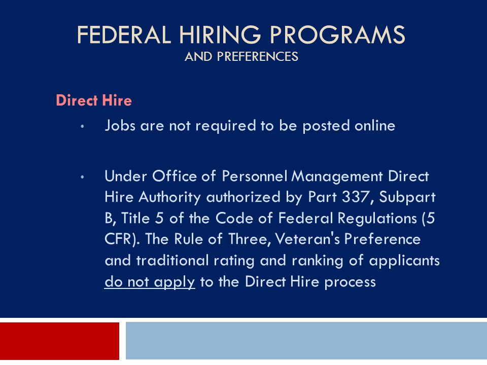 Federal Hiring Programs and Preferences
