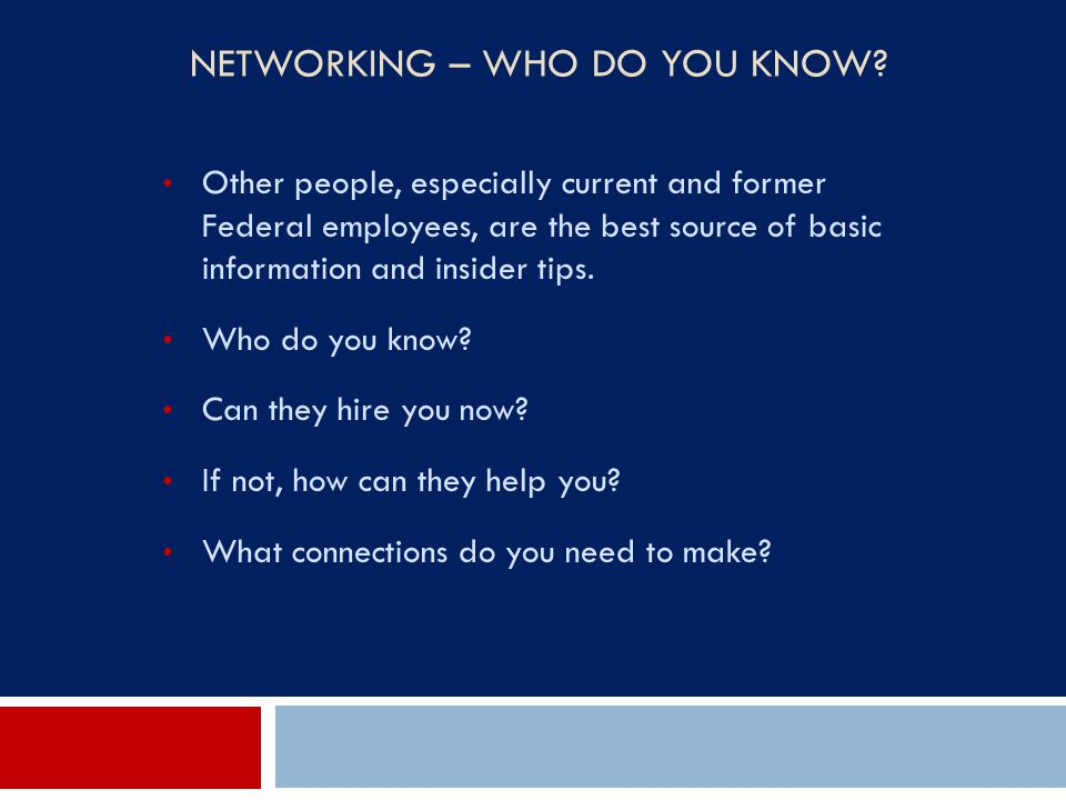 Networking – Who Do You Know