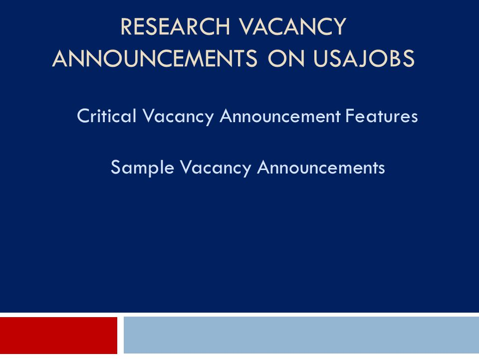 Research Vacancy Announcements on USAJOBS