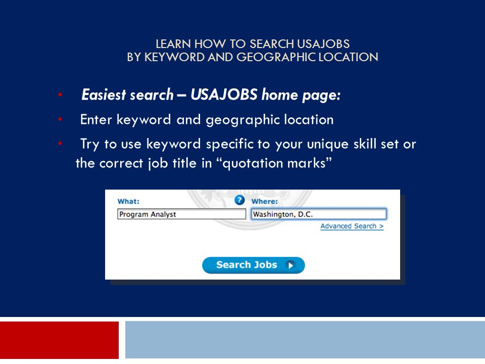 Learn How to Search USAJOBS by Keyword and Geographic Location