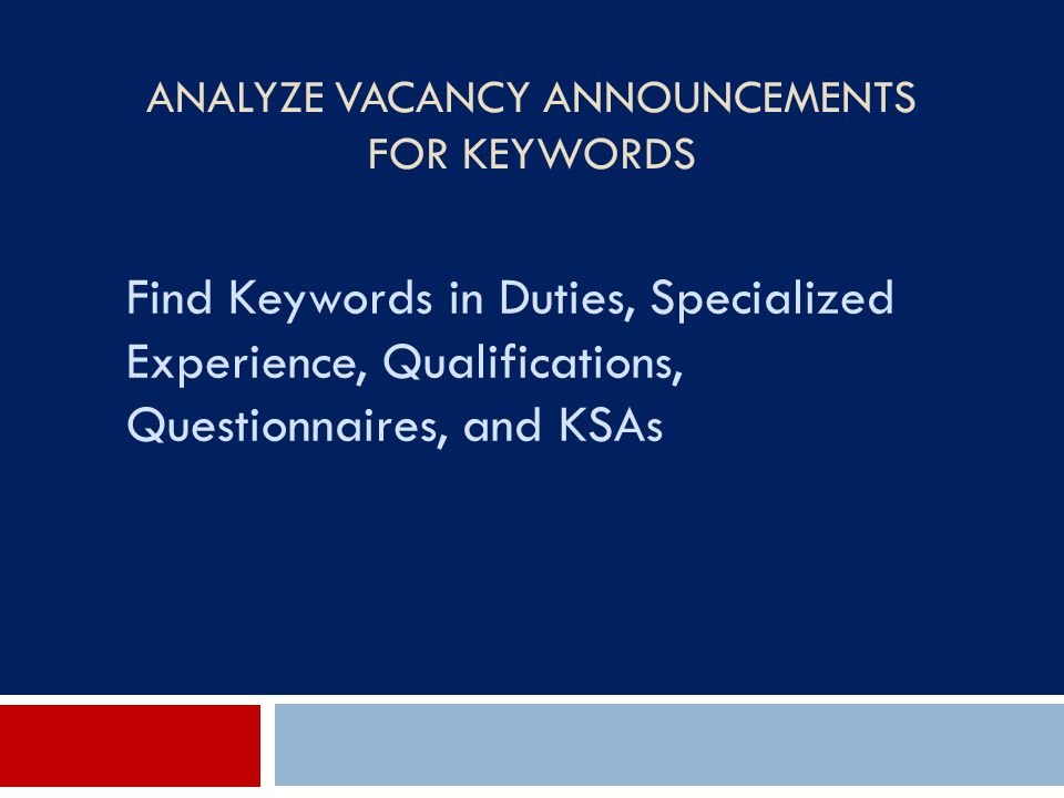 Analyze Vacancy Announcements for Keywords