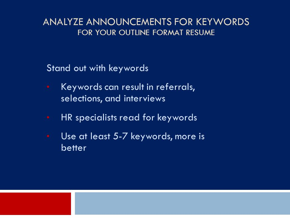 Analyze Announcements for Keywords For Your Outline Format Resume