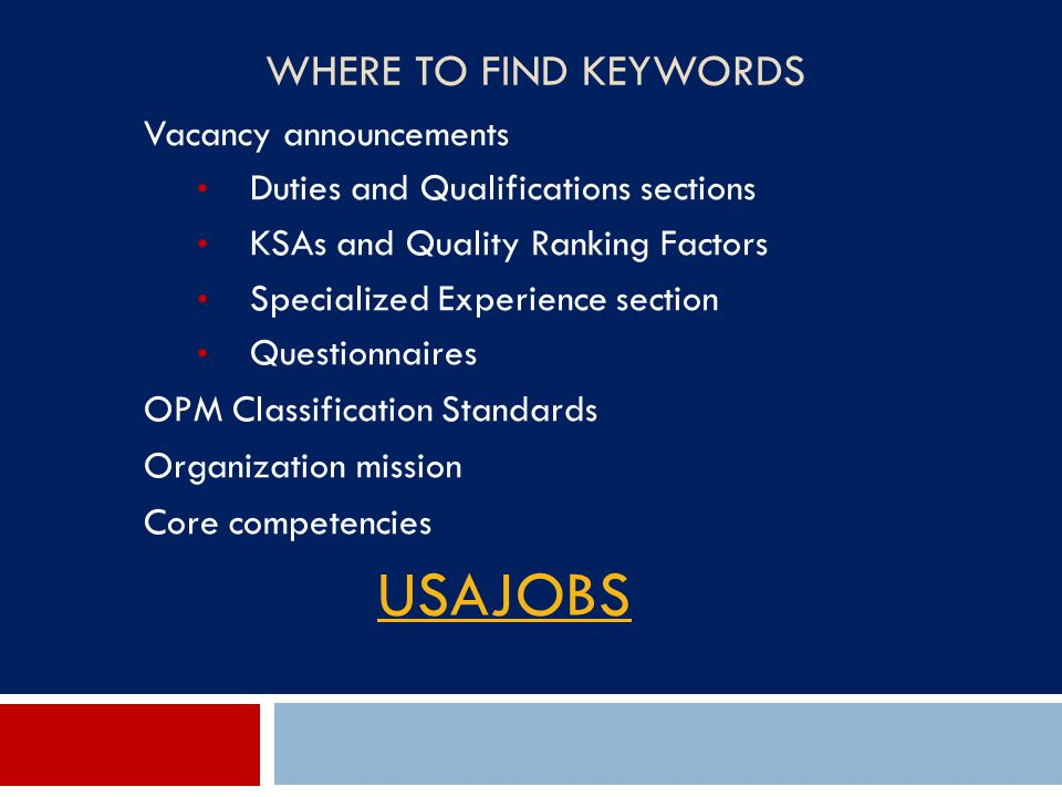USAJOBS Where to Find Keywords Vacancy announcements
