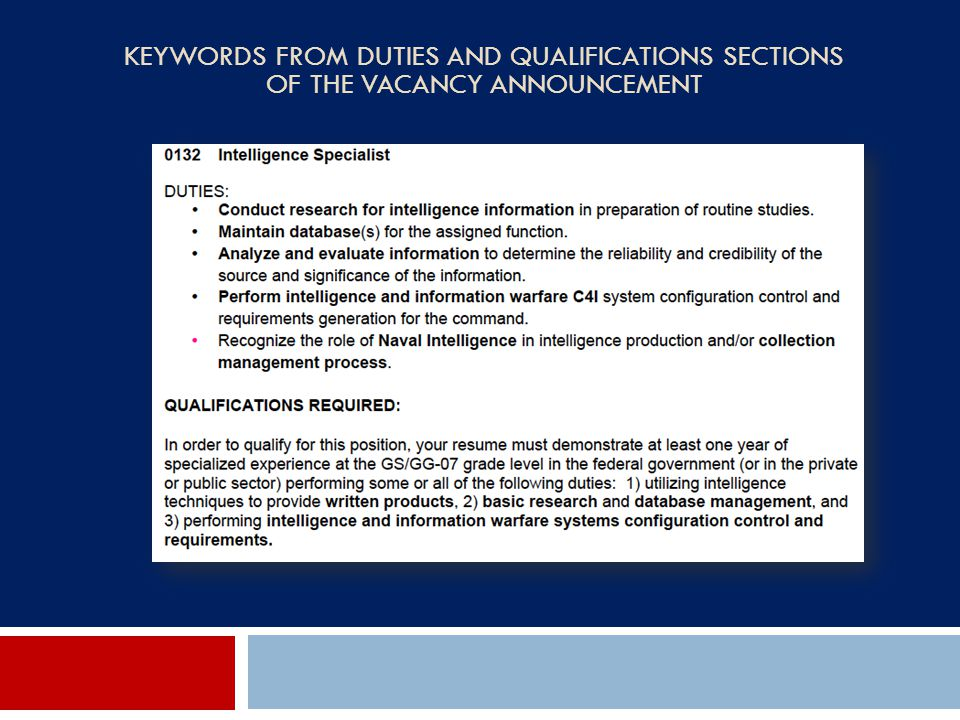 Keywords from Duties and Qualifications Sections of the Vacancy Announcement