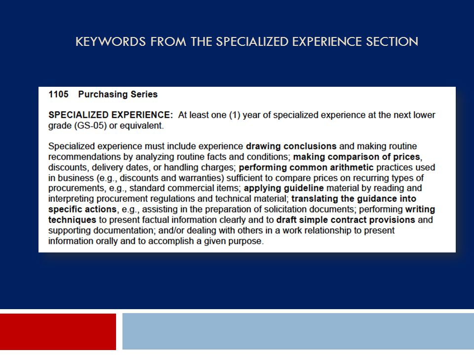 Keywords from the Specialized Experience Section