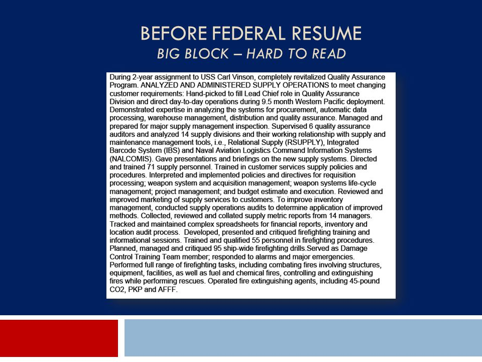 Before Federal Resume Big Block – Hard to Read