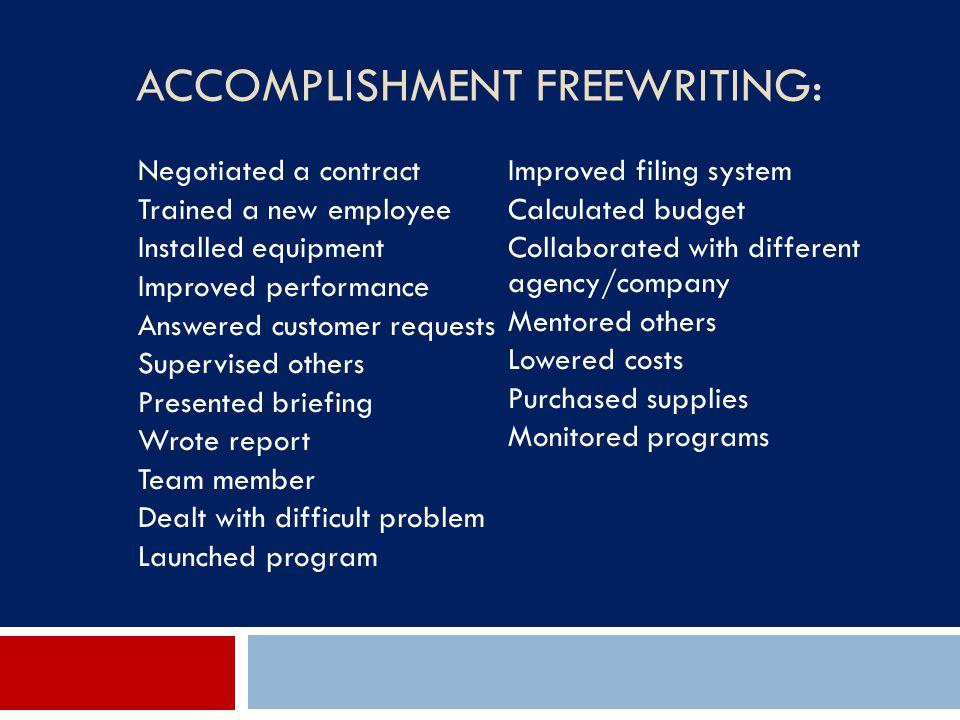 Accomplishment Freewriting: