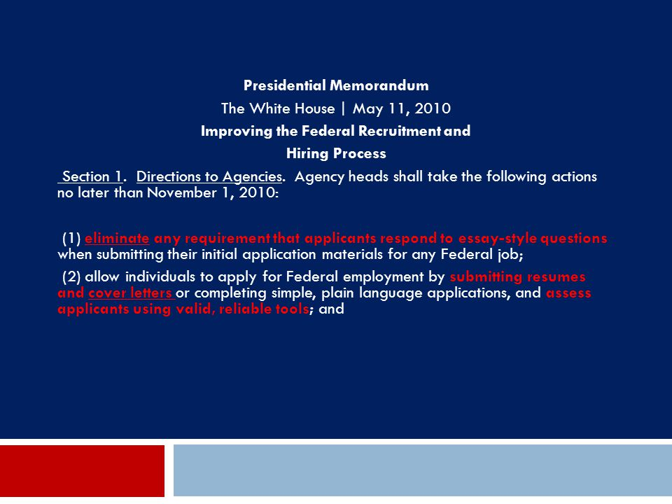 Presidential Memorandum Improving the Federal Recruitment and