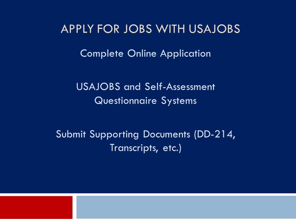 Apply for Jobs with USAJOBS