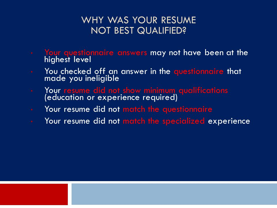 Why Was Your Resume Not Best Qualified