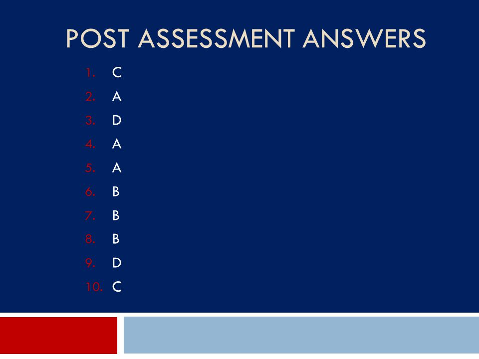 Post Assessment Answers