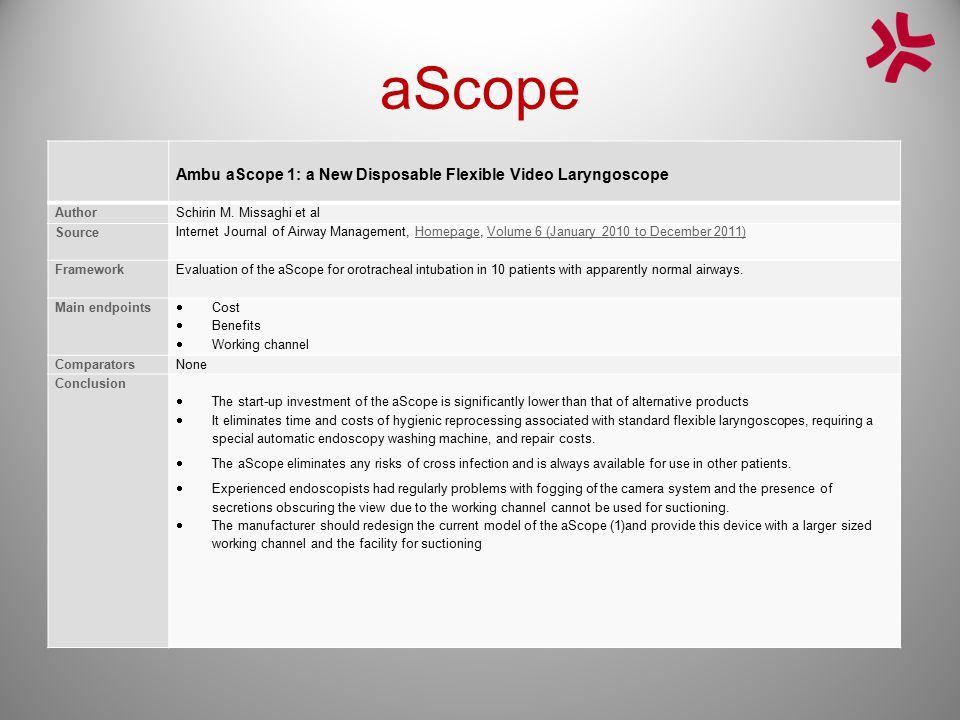 aScope Ambu aScope 1: a New Disposable Flexible Video Laryngoscope