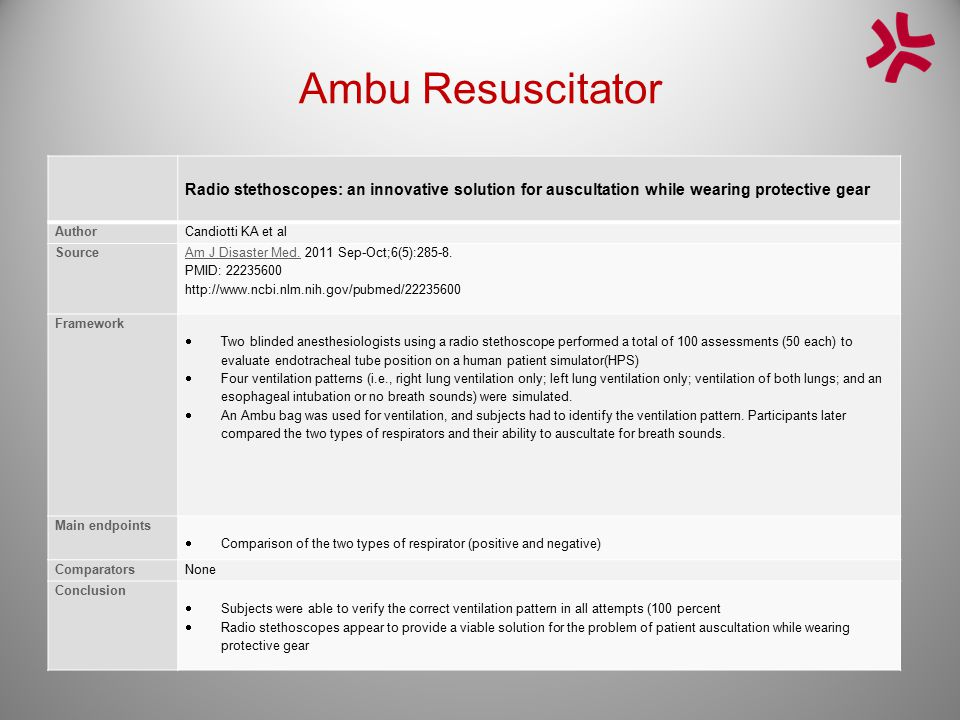Ambu Resuscitator Radio stethoscopes: an innovative solution for auscultation while wearing protective gear.