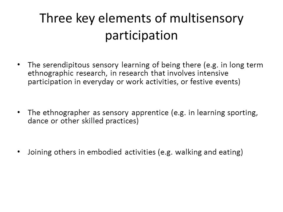 Three key elements of multisensory participation