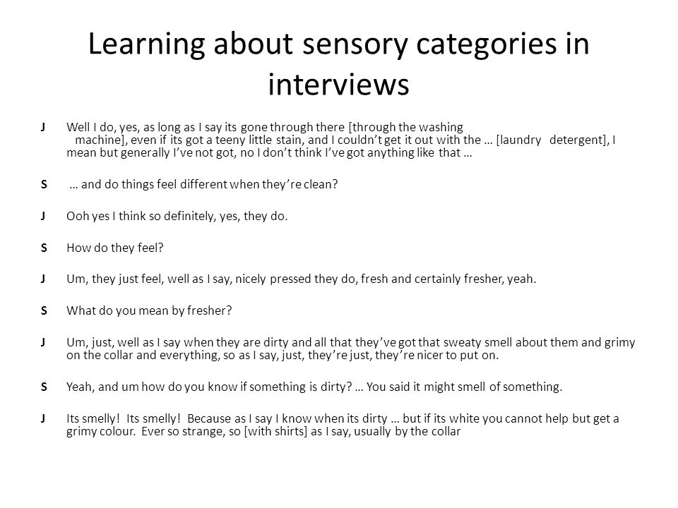 Learning about sensory categories in interviews