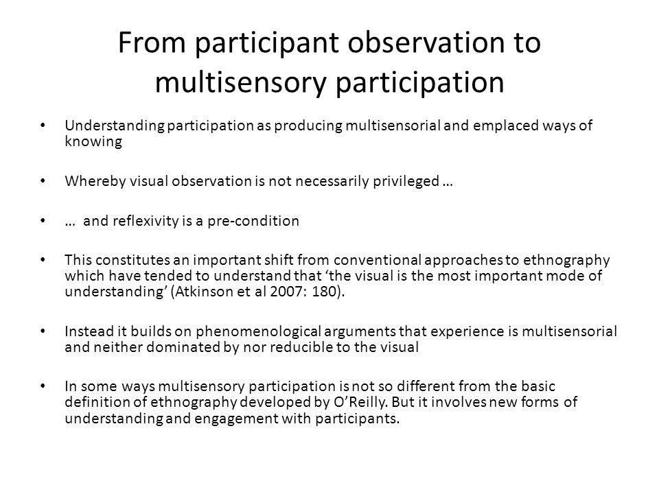 From participant observation to multisensory participation