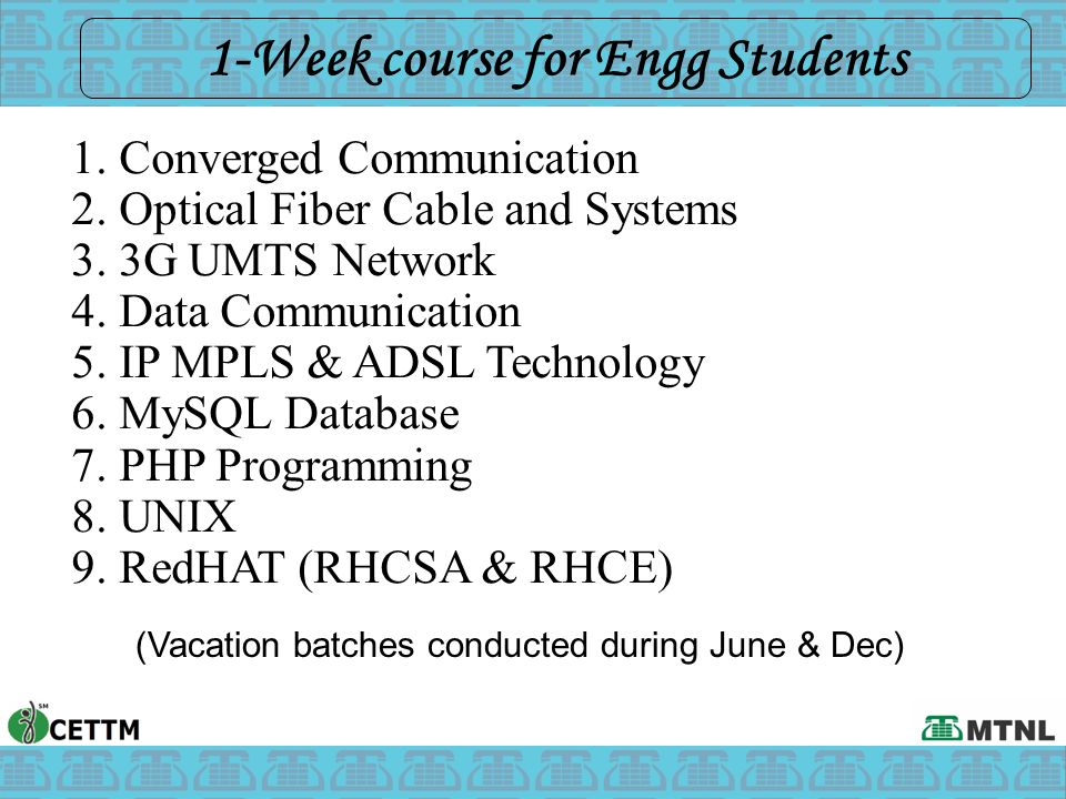 1-Week course for Engg Students