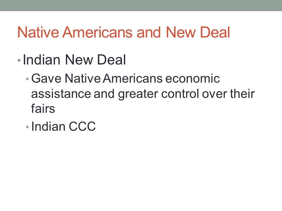 Native Americans and New Deal
