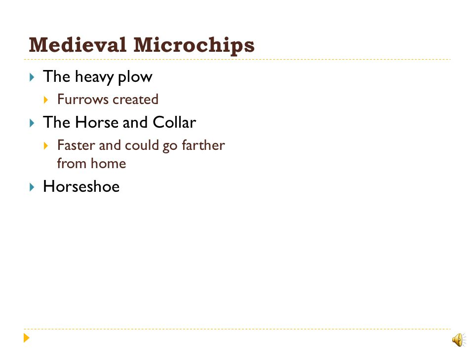Medieval Microchips The heavy plow The Horse and Collar Horseshoe