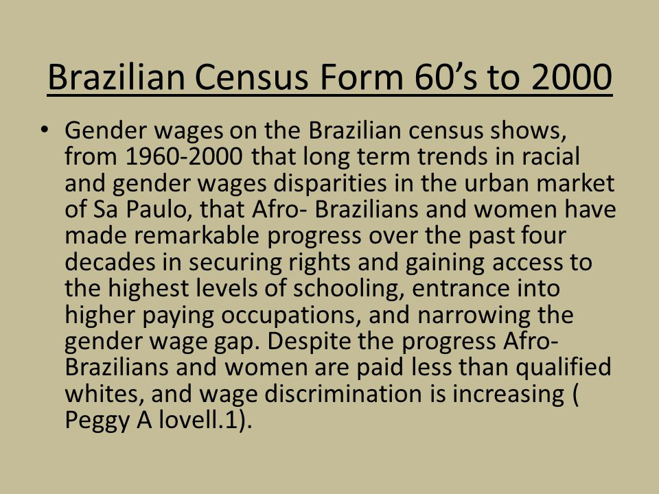 Brazilian Census Form 60's to 2000
