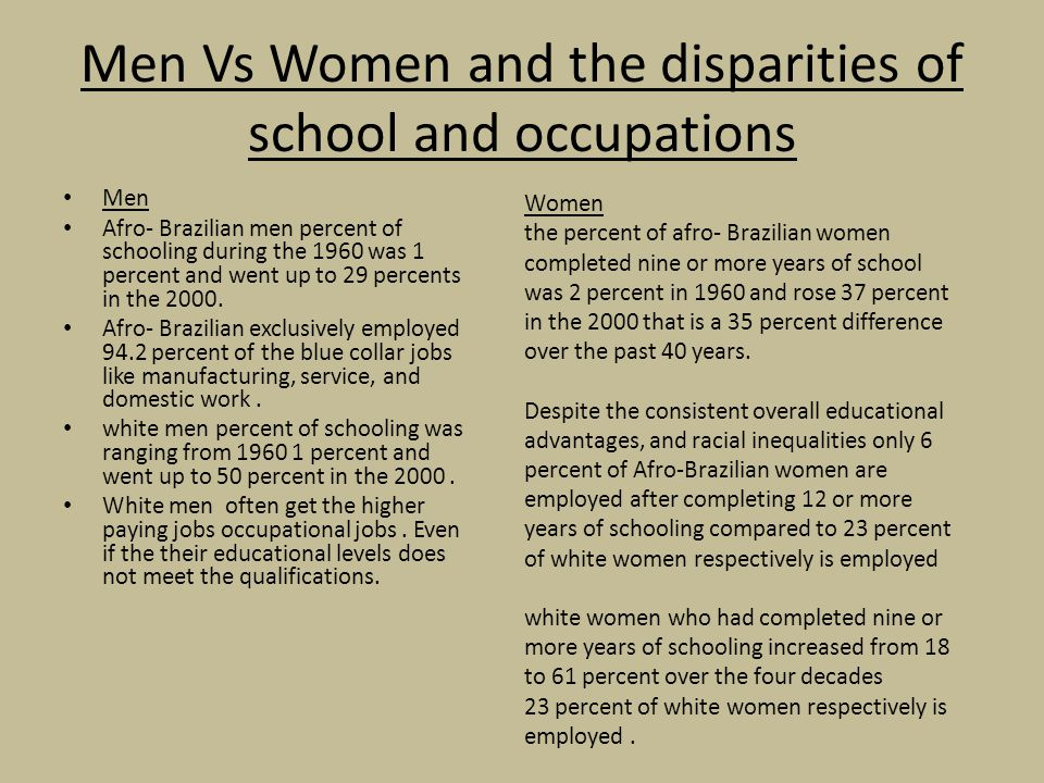Men Vs Women and the disparities of school and occupations