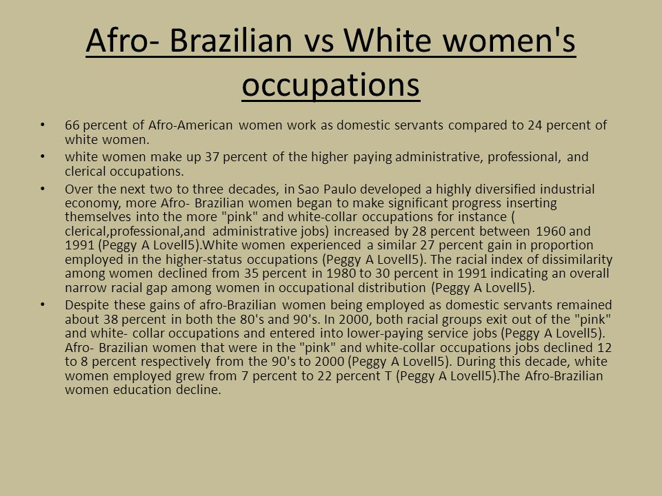 Afro- Brazilian vs White women s occupations