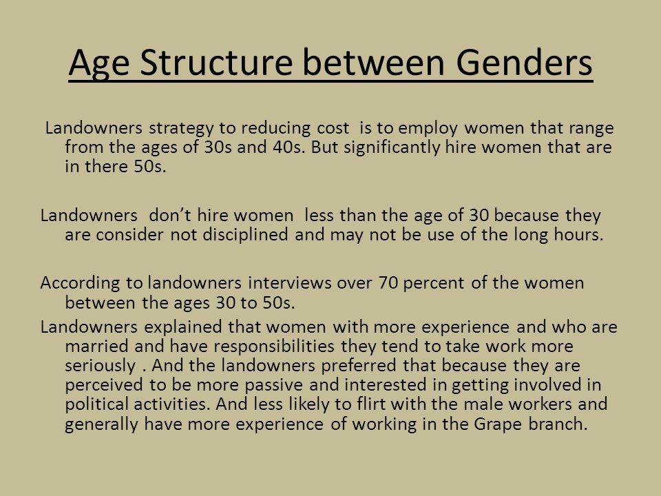 Age Structure between Genders