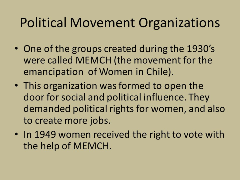 Political Movement Organizations