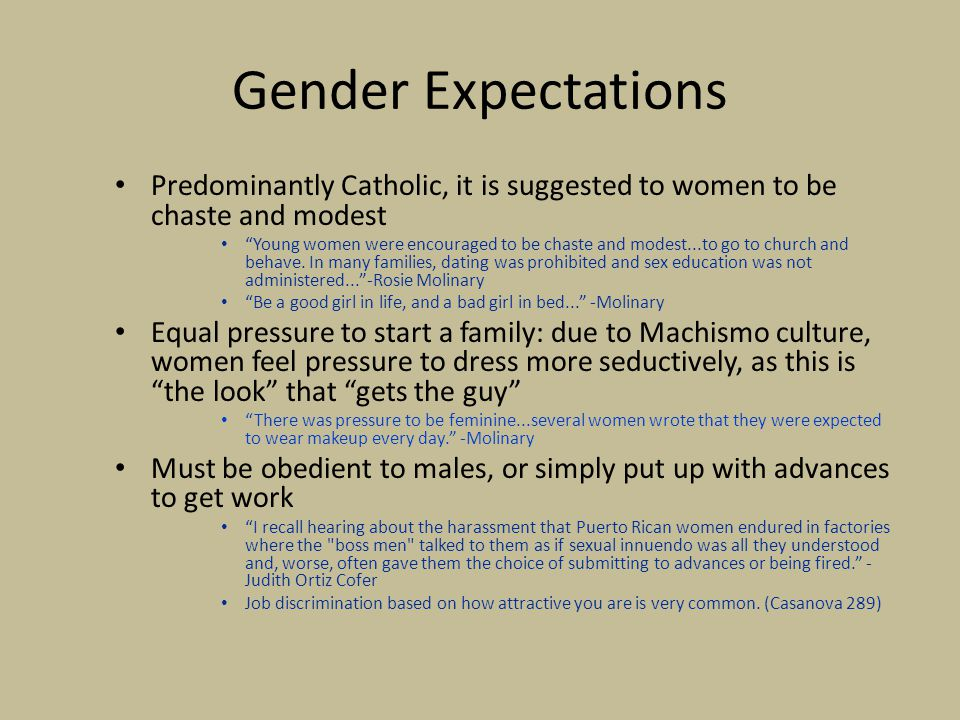 Gender Expectations Predominantly Catholic, it is suggested to women to be chaste and modest.