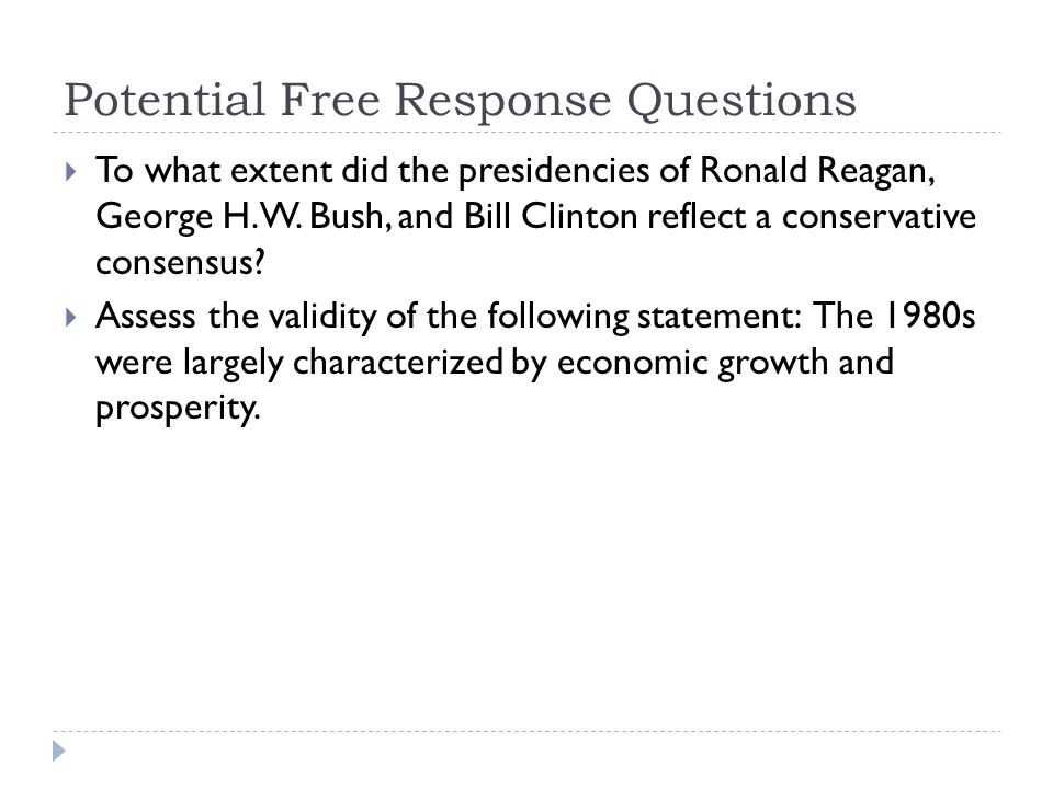 Potential Free Response Questions