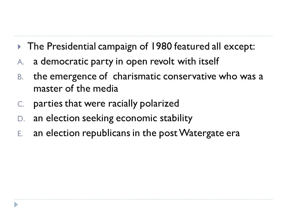 The Presidential campaign of 1980 featured all except: