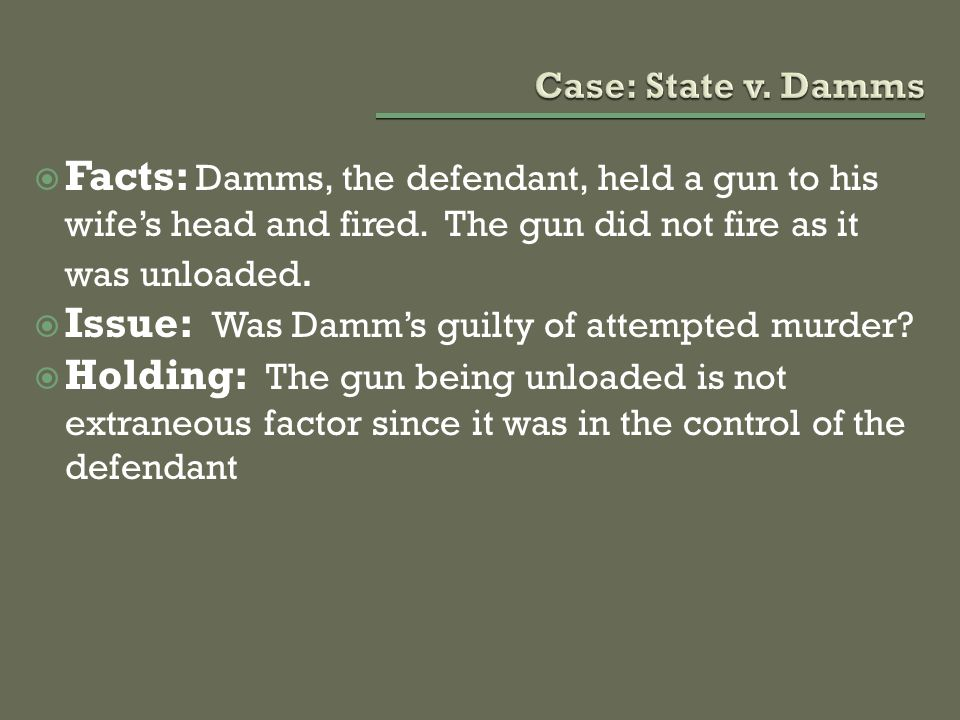 Issue: Was Damm's guilty of attempted murder