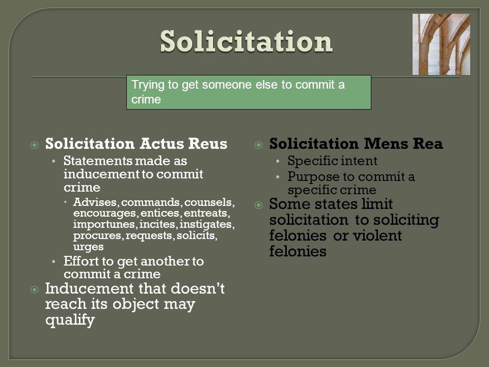 Solicitation Solicitation Actus Reus