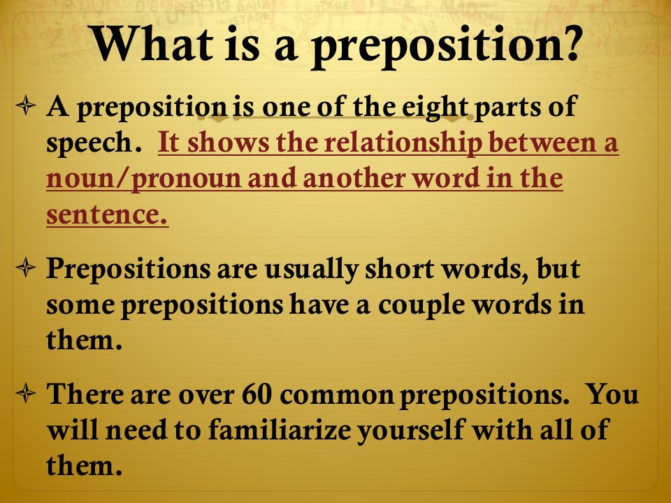 What is a preposition