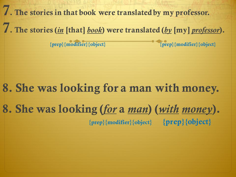 7. The stories in that book were translated by my professor.