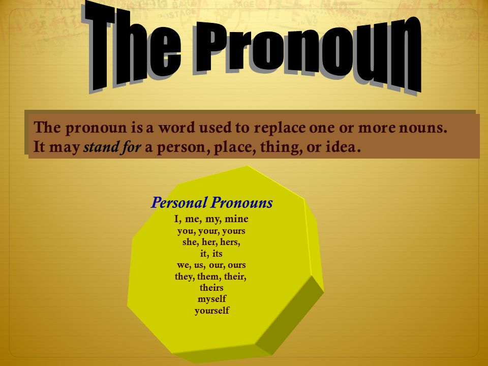 The Pronoun The pronoun is a word used to replace one or more nouns.