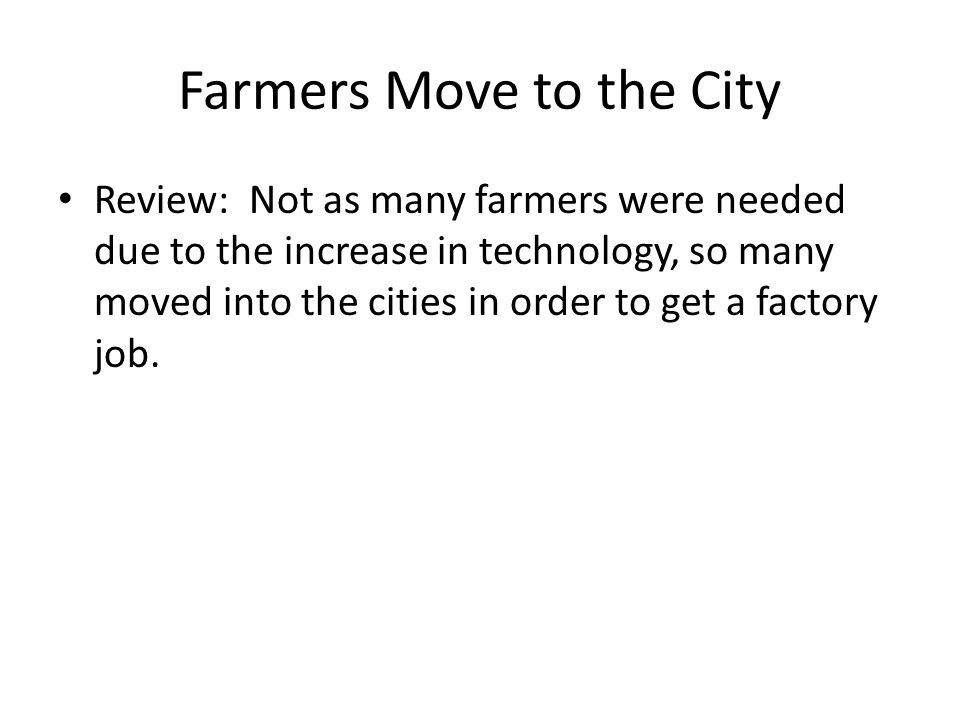 Farmers Move to the City