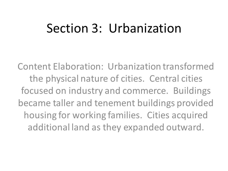 Section 3: Urbanization