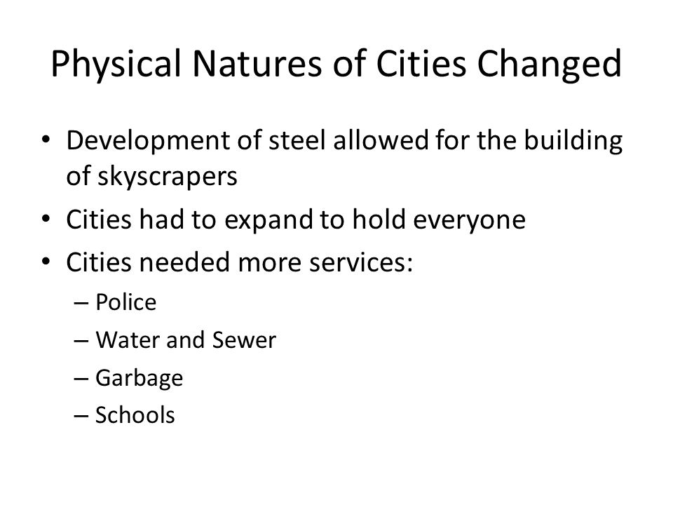 Physical Natures of Cities Changed