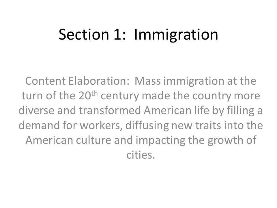 Section 1: Immigration