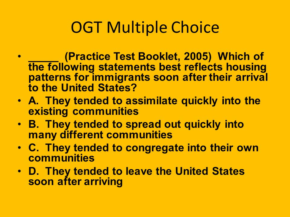 OGT Multiple Choice
