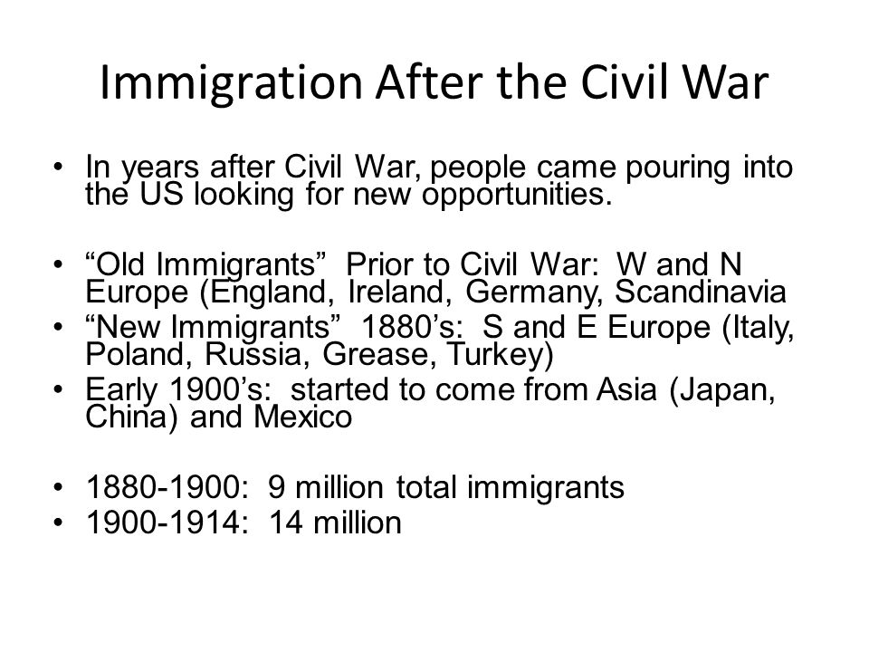 Immigration After the Civil War
