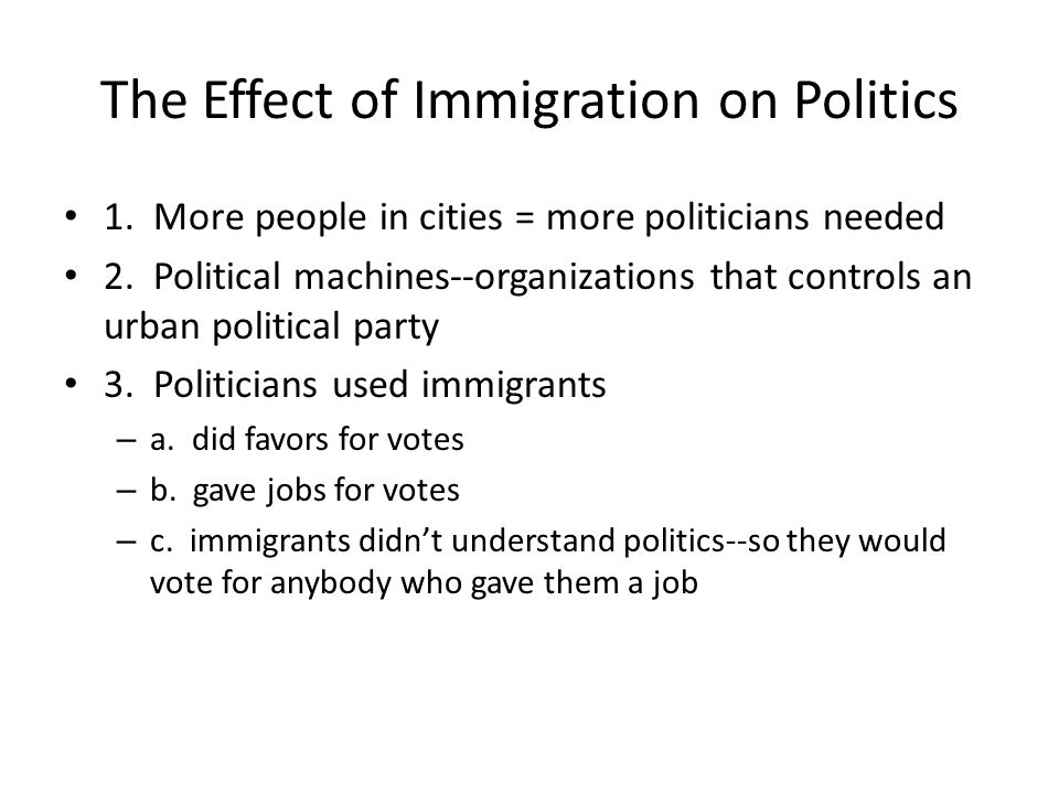 The Effect of Immigration on Politics