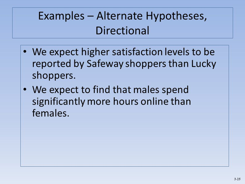 Examples – Alternate Hypotheses, Directional