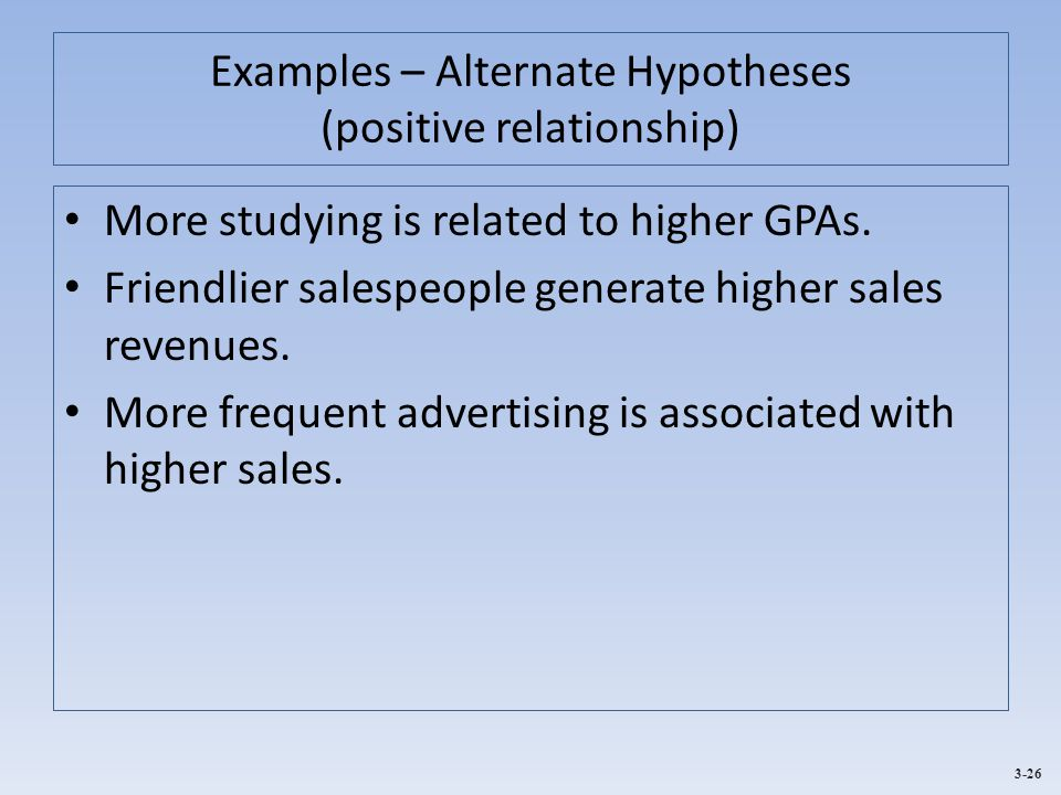 Examples – Alternate Hypotheses (positive relationship)