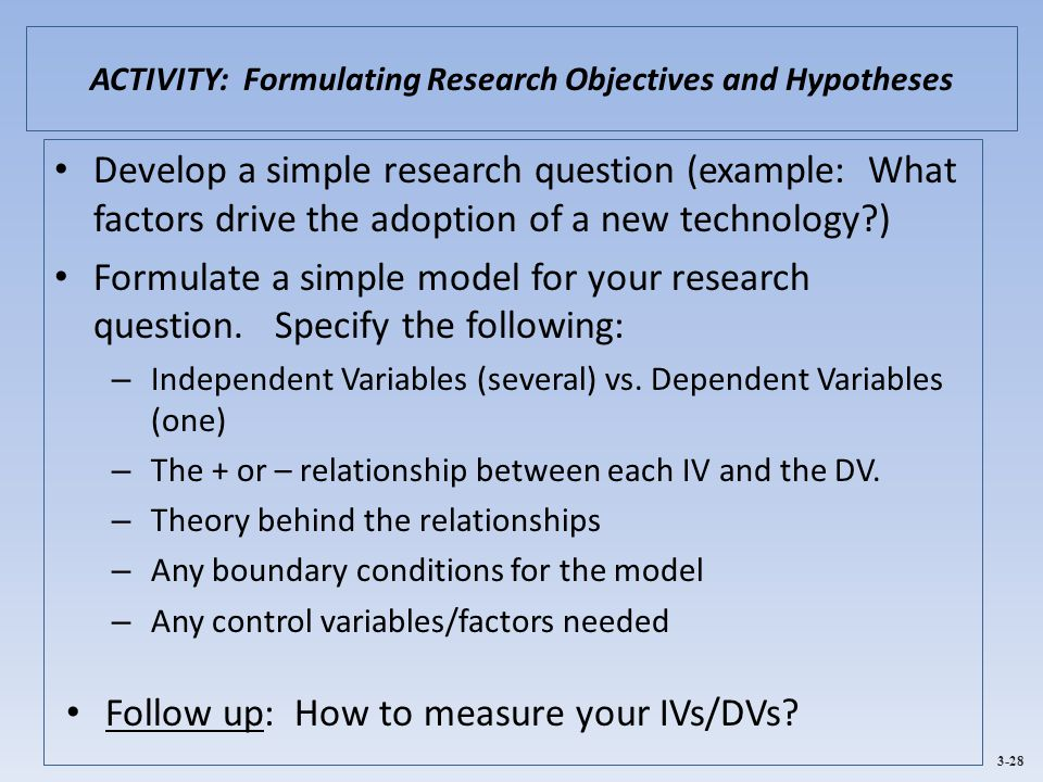ACTIVITY: Formulating Research Objectives and Hypotheses