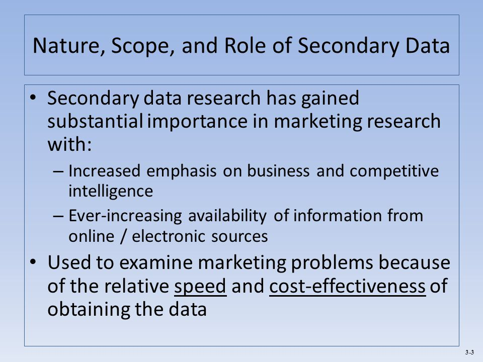 Nature, Scope, and Role of Secondary Data
