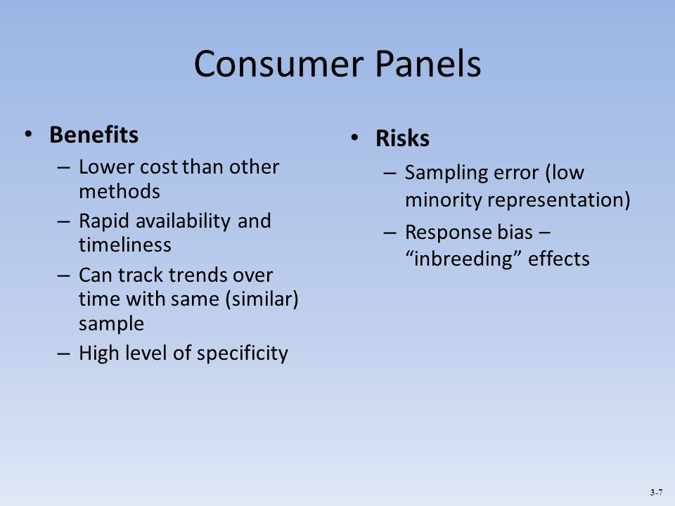 Consumer Panels Benefits Risks Lower cost than other methods