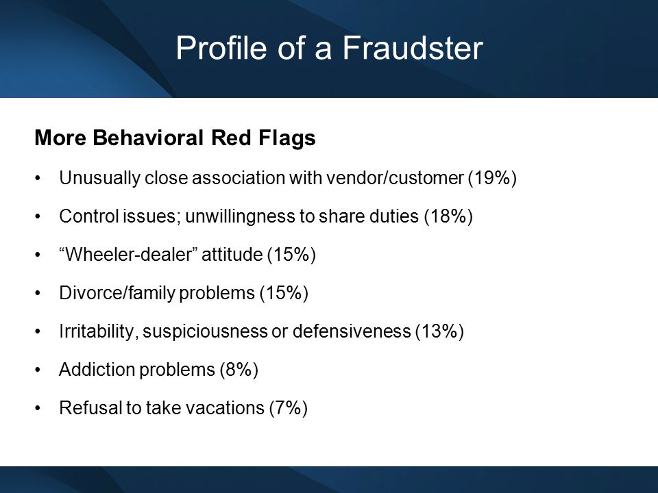 Profile of a Fraudster More Behavioral Red Flags