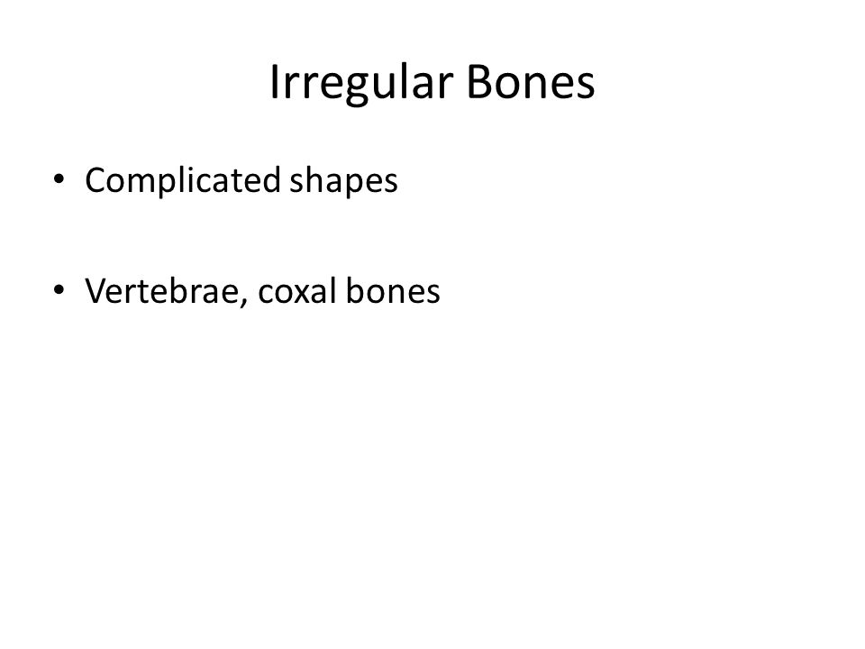 Irregular Bones Complicated shapes Vertebrae, coxal bones